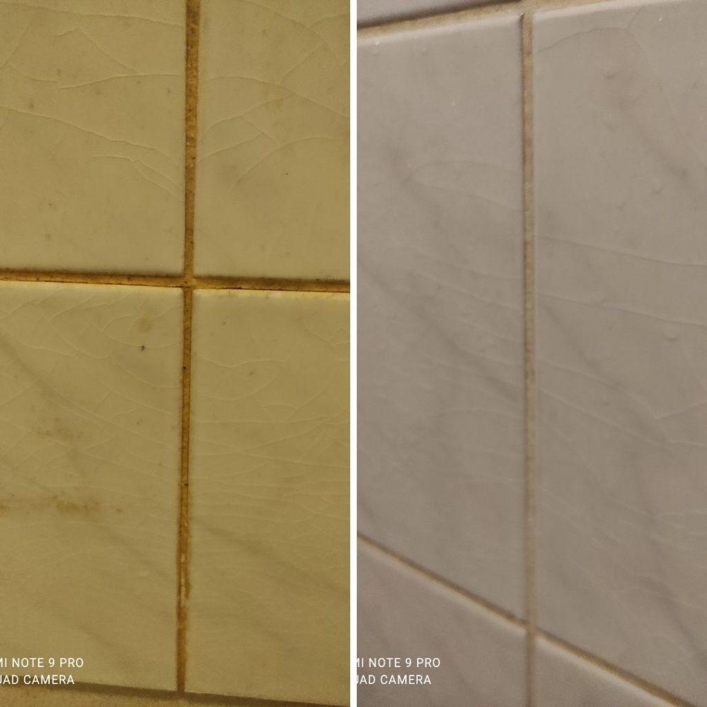 Ennen ja jälkeen. Vanhat suihkun kaakelit sai siivoussaippualla uuden elämän.