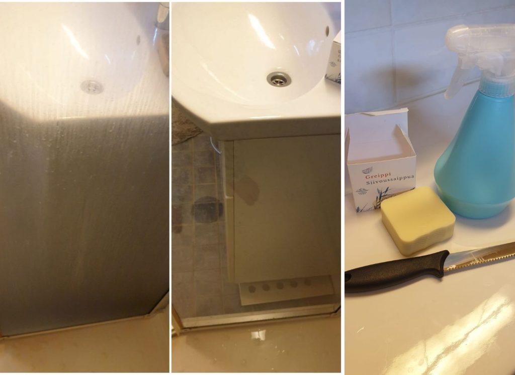 Minulla on odottanut siivoussaippua kaapissa jo jonkin aikaa. Nyt sain motivaation kokeilla ja suihkun lasiseinä pääsi käsittelyyn. (1)