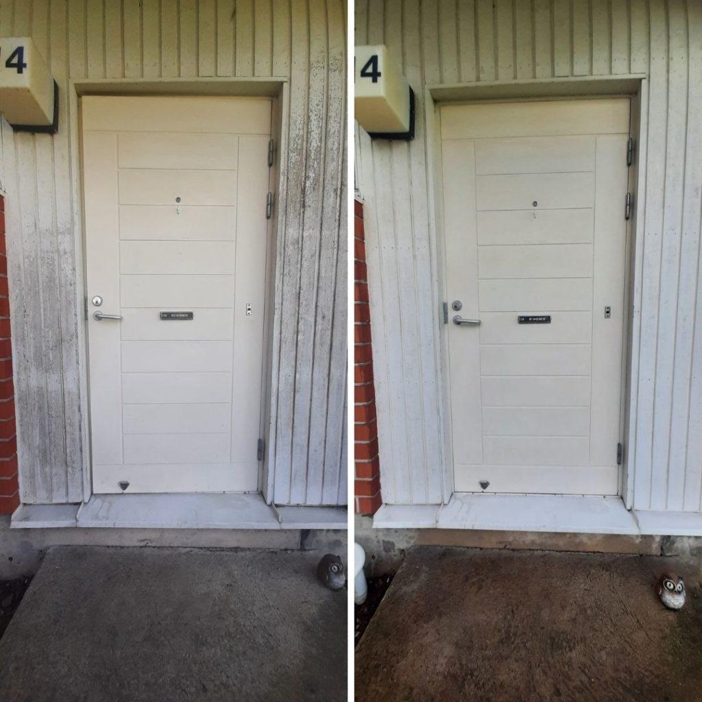 Pinttynyt valkoinen ovi puhtaaksi siivoussaippualla (1)