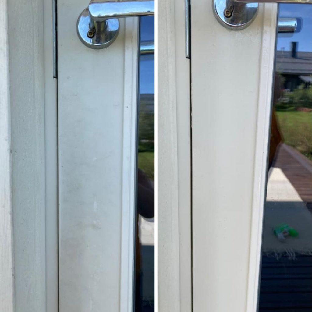 Pinttynyt valkoinen ovi puhtaaksi siivoussaippualla