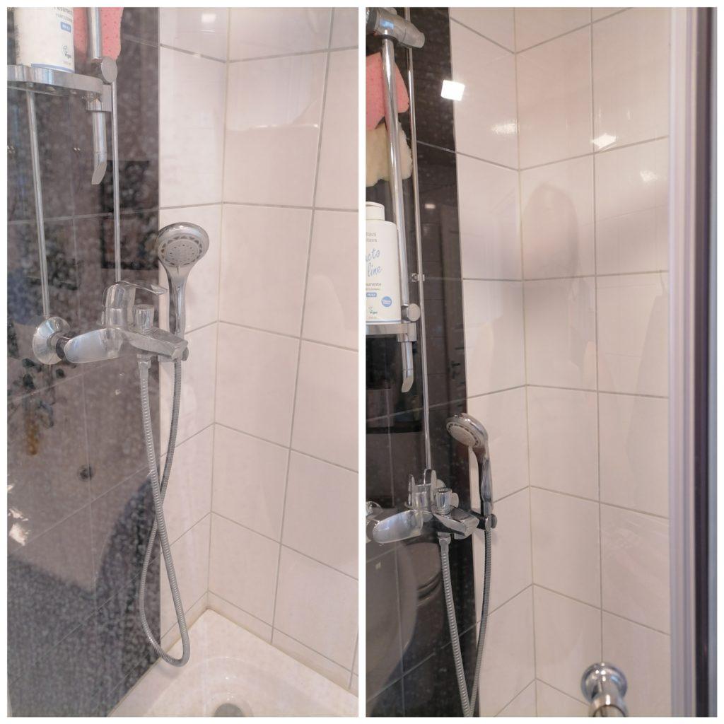 suihkuseinä puhtaaksi siivoussaippualla