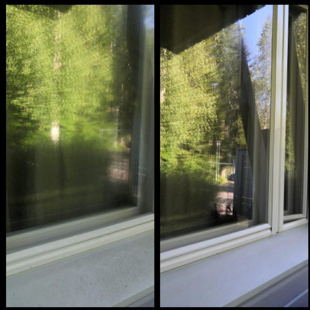 Siivoussaippualla ikkuna puhtaaksi