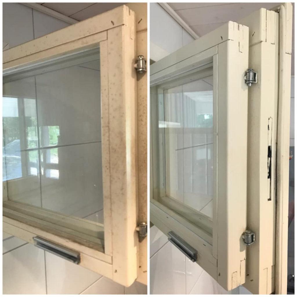 Siivoussaippualla ikkunanpuitteet ja karmit puhtaaksi