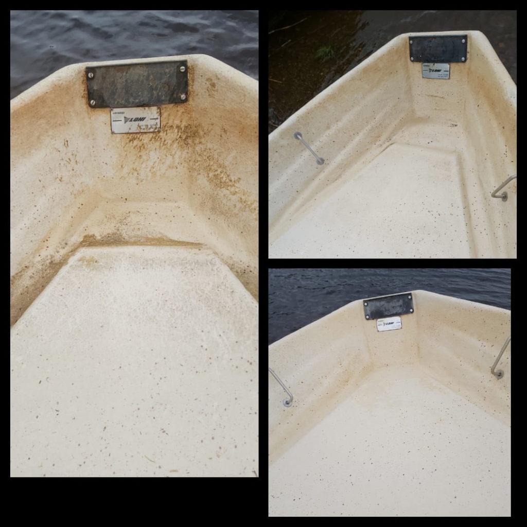 Siivoussaippualla veneenkeula puhtaaksi
