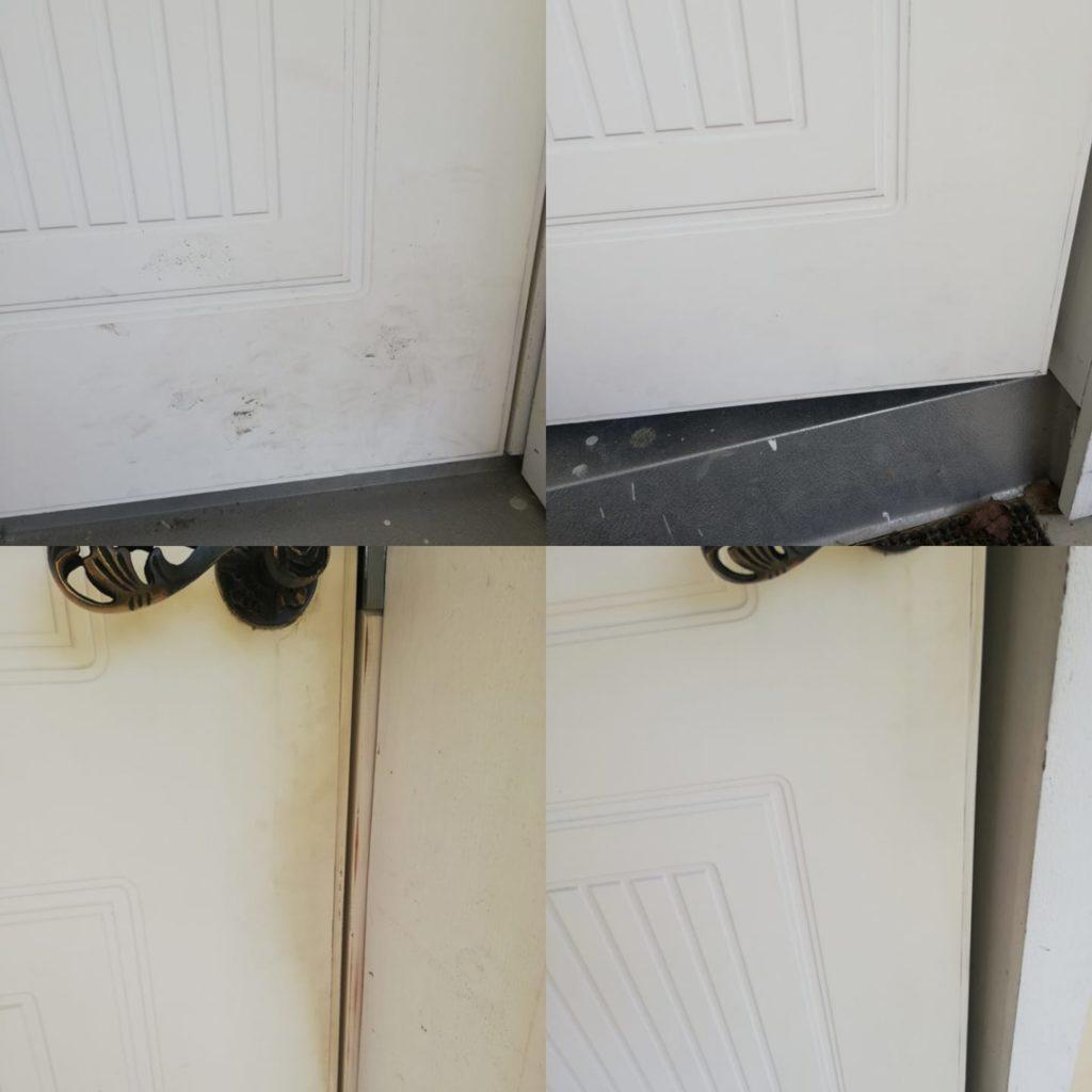 Ulko-oven alaosa ja oven sivu. Saarentaika Laventeli siivoussaippualla tuli puhdasta