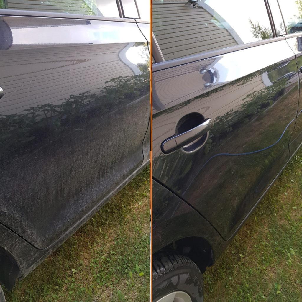 Auto puhtaaksi siivoussaippualla