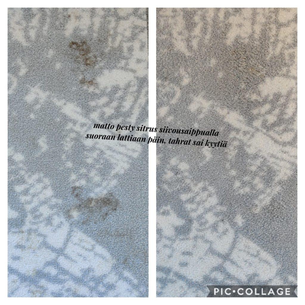 matto pesty saaren taika siivoussaippualla suoraan lattialla
