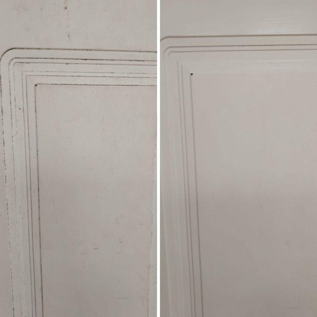 valkoiset kaapin ovet puhtaaksi siivoussaippualla