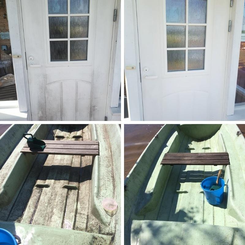 Pinttynyt ovi puhtaaksi saaren taika siivoussaippualla ja samaten sammaloitunut vene puhtaaksi