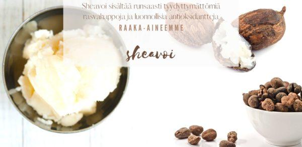 Sheavoi sisältää runsaasti tyydyttymättömiä rasvahappoja ja luonnollisia antioksidantteja raaka-aineemme sheavoi