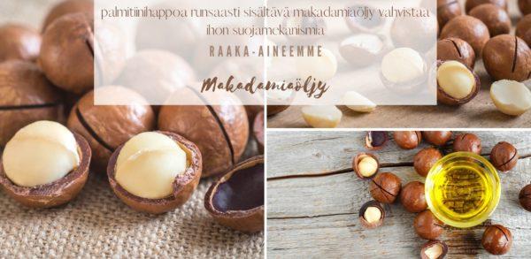 palmitiinihappoa runsaasti sisältävä makadamiaöljy vahvistaa ihon suojamekanismia raaka-aineemme makadamiaöljy