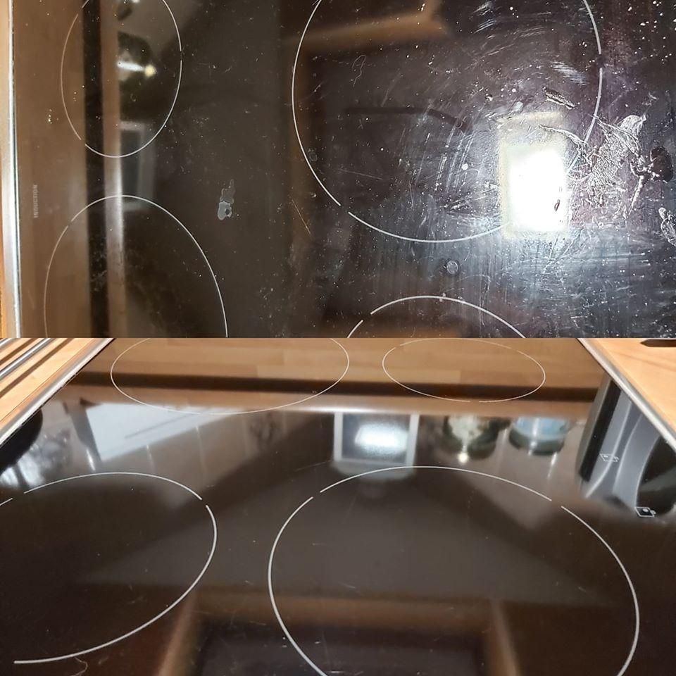 Keraaminen liesitaso puhdistuu helposti sitrus siivoussaippualla
