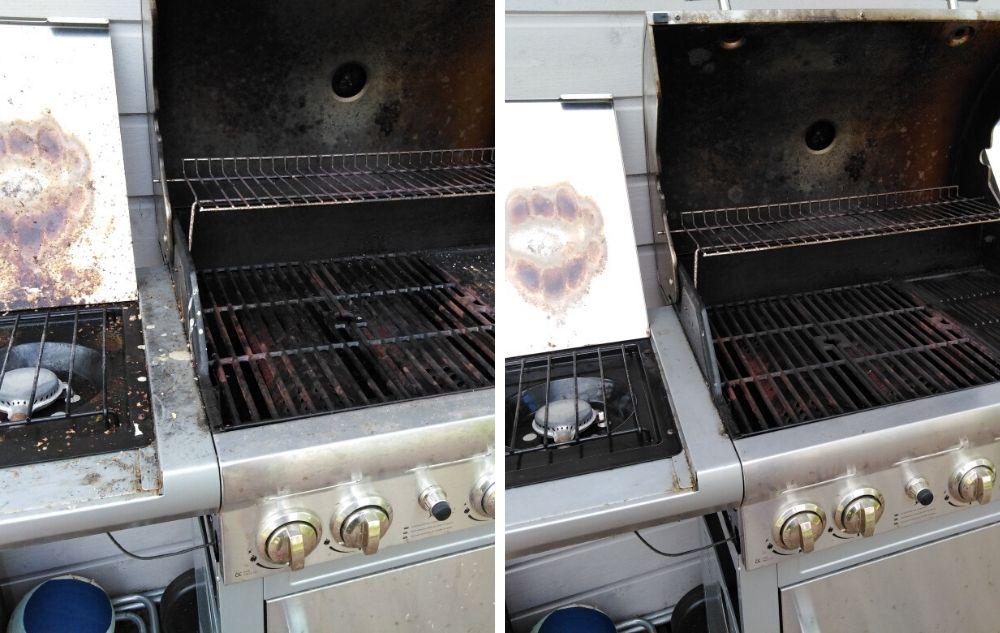 Puhdistin siivoussaippualla tänään grillin kesämökillä.