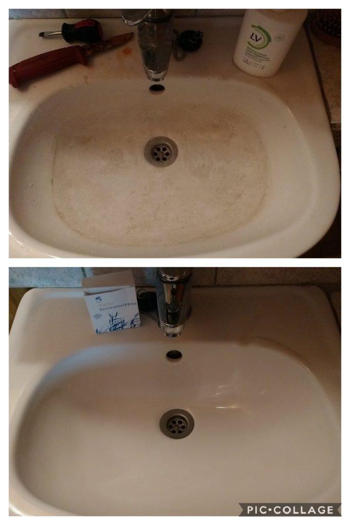 työtilan lavuaari puhtaaksi ekologisesti siivoussaippualla