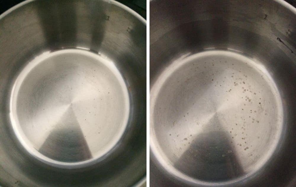 pinttynyt kattila puhtaaksi ekologisesti hankaamatta