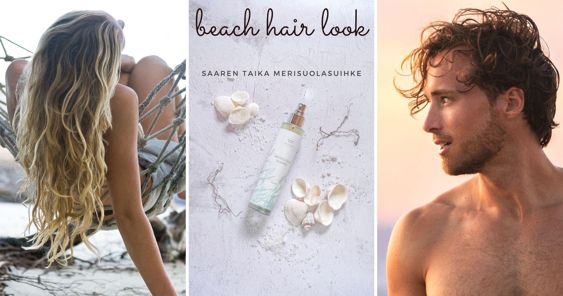 beach hair look saaren taika merisuolasuihke