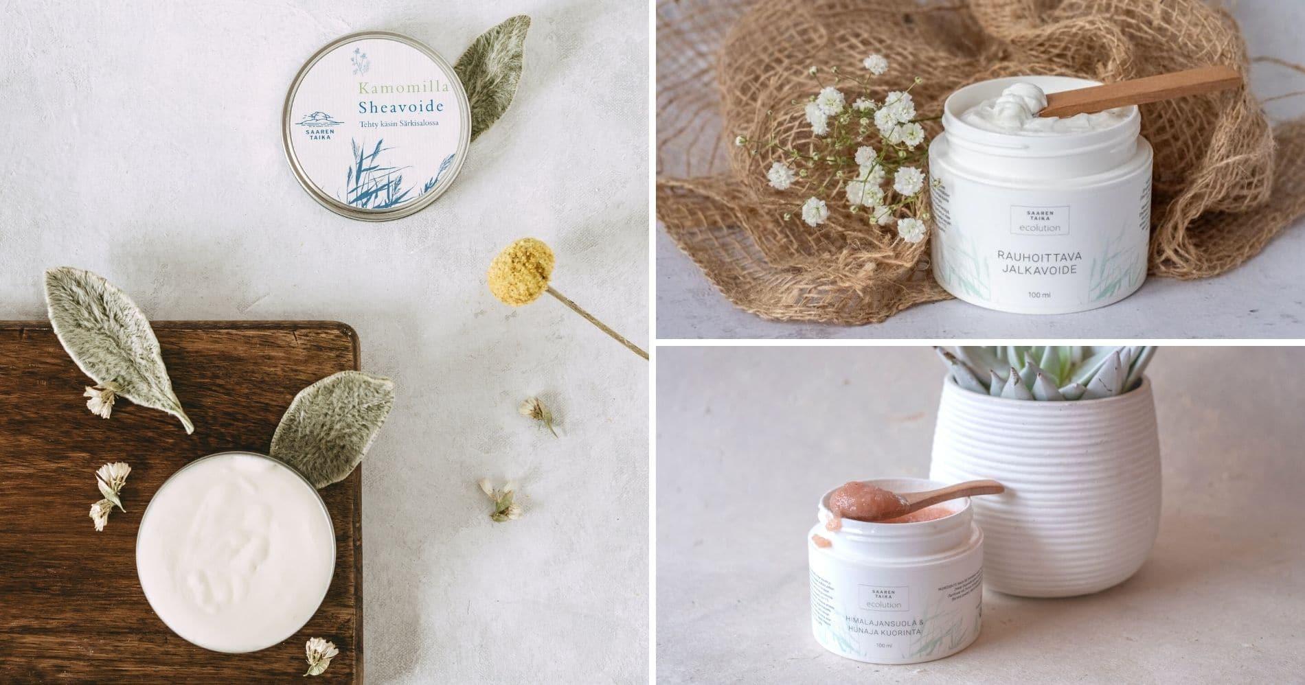 Saaren Taika luonnonkosmetiikka tuotteista löydät ihonhoitotuotteet voiteet seerumit sekä naisille että miesten ihonhoitotuotteet