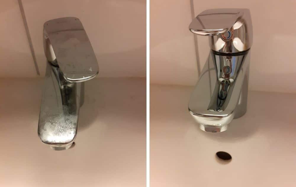 Pesuhuoneen hana ennen sitrus siivoussaippuan käyttöä ja käytön jälkeen.