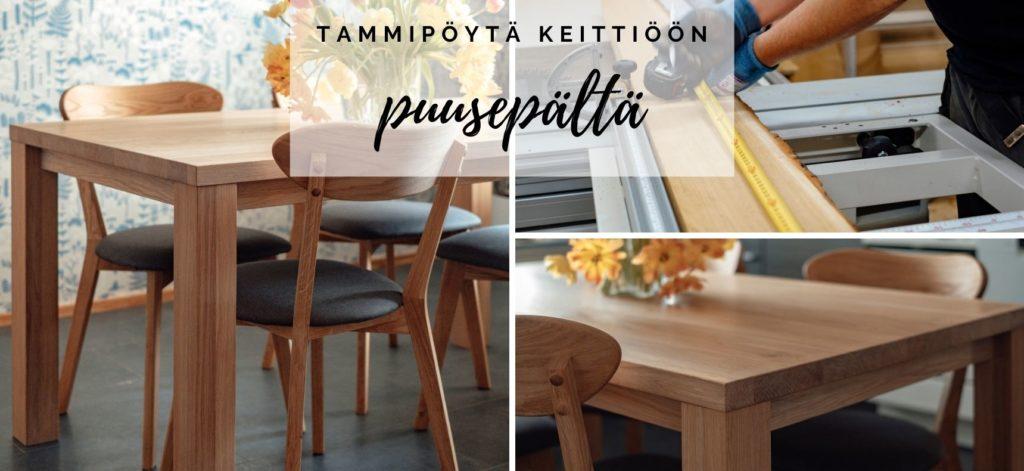 Novapuun puusepän käsistä tammipöytä keittiöön tilaustyönä (1)