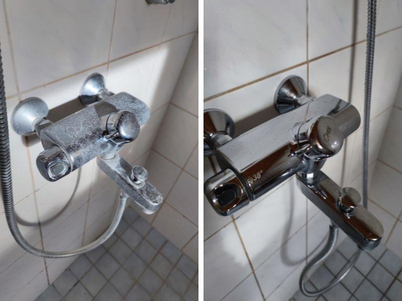 Kylpyhuoneen kaakelisaumojen home sekä hanojen kalkkijäämät ja saippuajäämät pois